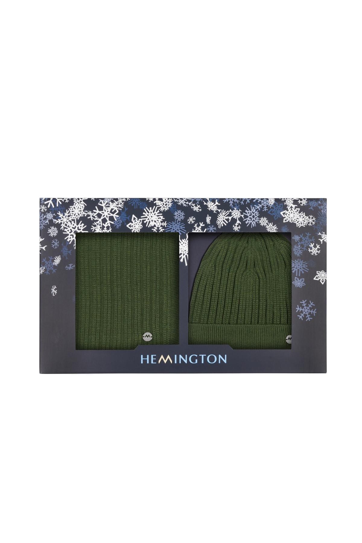 Hemington Koyu Yeşil Merino Yün Atkı 2
