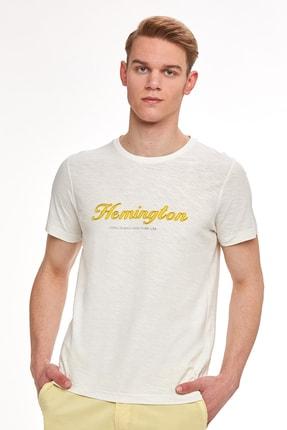 Hemington Nakış Logolu Beyaz Bisiklet Yaka T-shirt