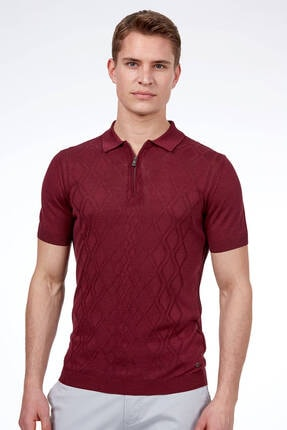 Hemington Erkek Bordo Ipek Triko Polo Tshirt