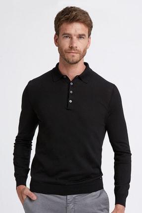 Hemington Erkek Siyah Polo Yaka Uzun Kollu Mevsimlik Triko Tshirt