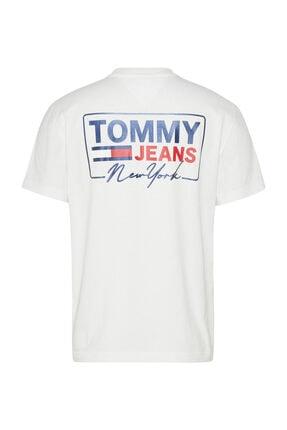 Tommy Hilfiger Erkek Beyaz T-Shirt Tjm Ny Scrıpt Box Back Logo Tee DM0DM10216YBR