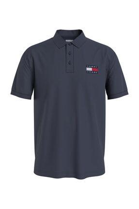 Tommy Hilfiger Erkek Mavi T-Shirt Tjm Tommy Badge Lıghtweıght Polo DM0DM10327