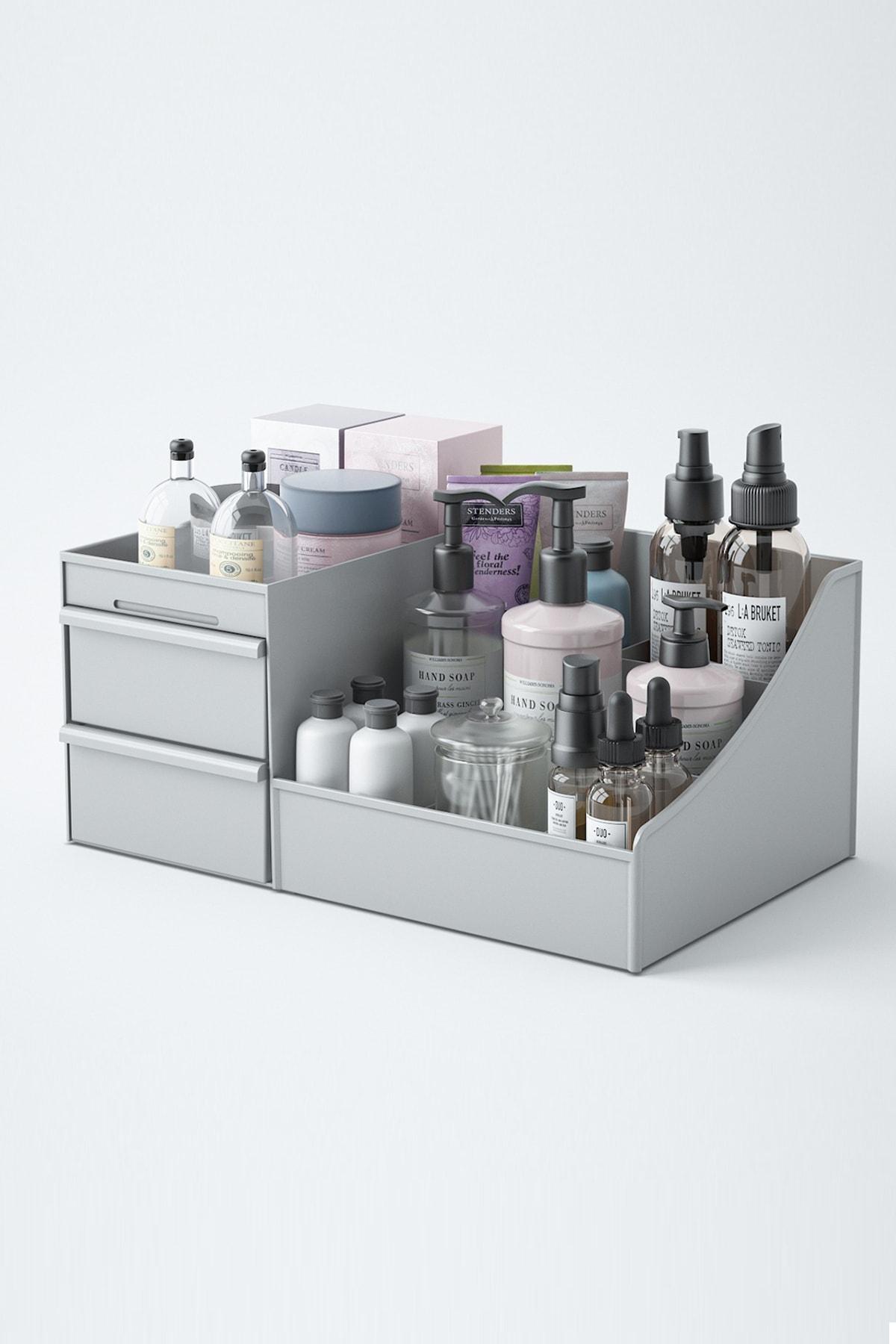 PUFWİN Elegance Kozmetik Ve Makyaj Düzenleme Kutusu Organizer Gri 2