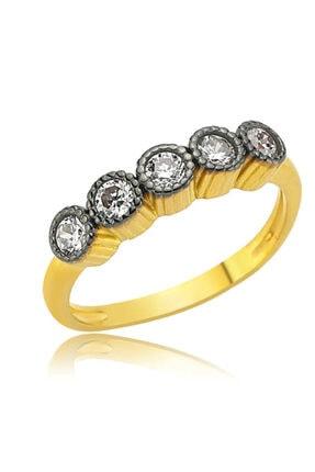 Gumush Kadın Altın Kaplama 5 Taş Gümüş Yüzük
