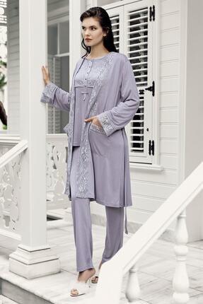 Artış Kadın Lavanta 3Lü Sabahlık Pijama Takım-