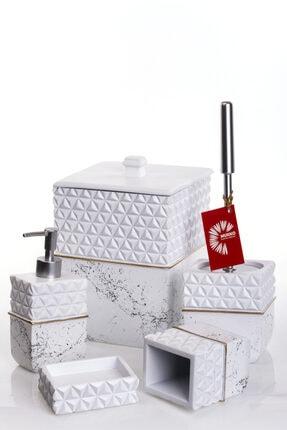 MUKKO HOME Katerina Beyaz Polyester 5 Parça Banyo Seti