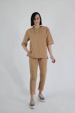 Tuğbanın Butiği Kadın Camel Renk Kat Kol Takım