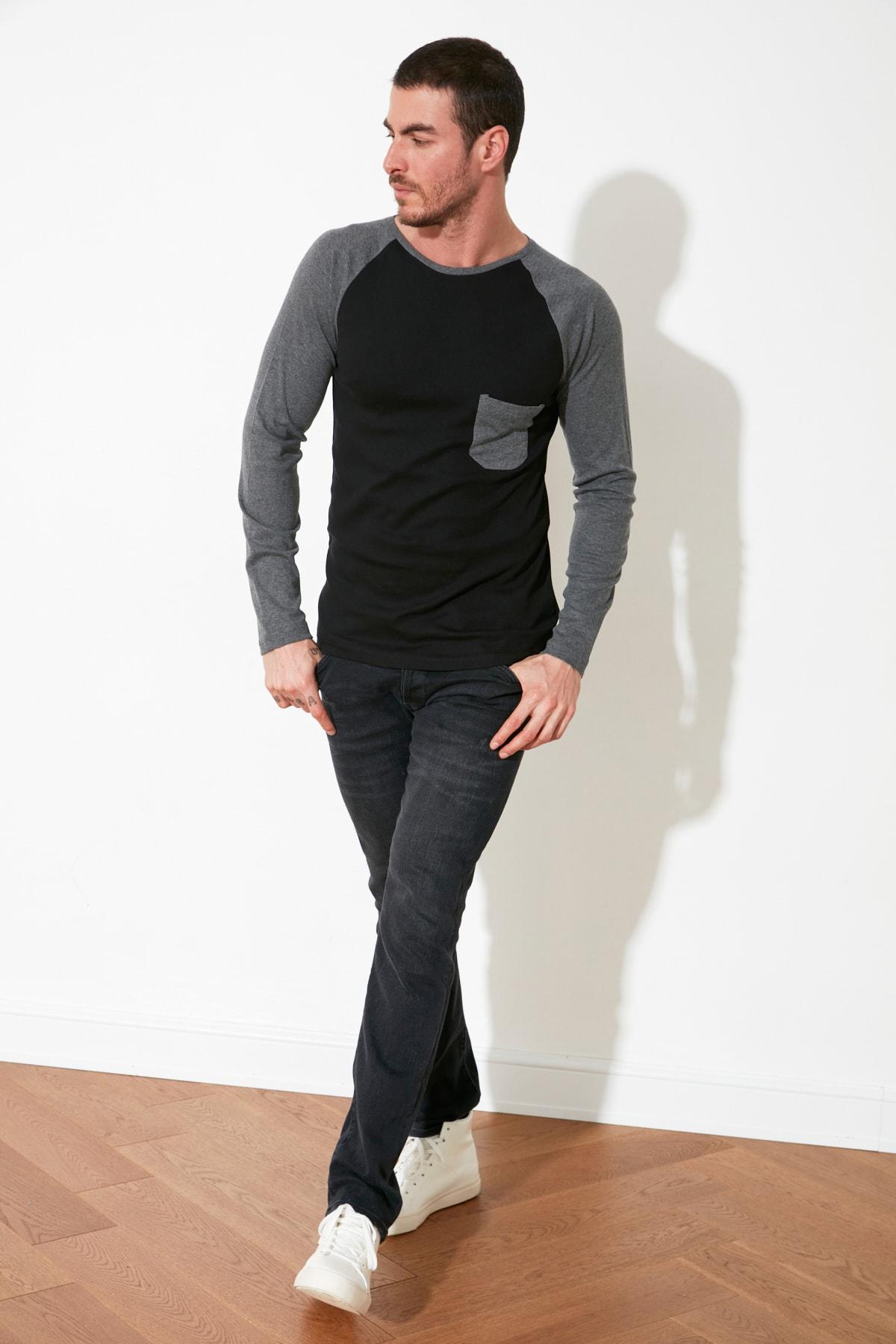 TRENDYOL MAN Antrasit Erkek Slim Fit Bisiklet Yaka Uzun Kollu T-Shirt TMNAW20TS0195 2