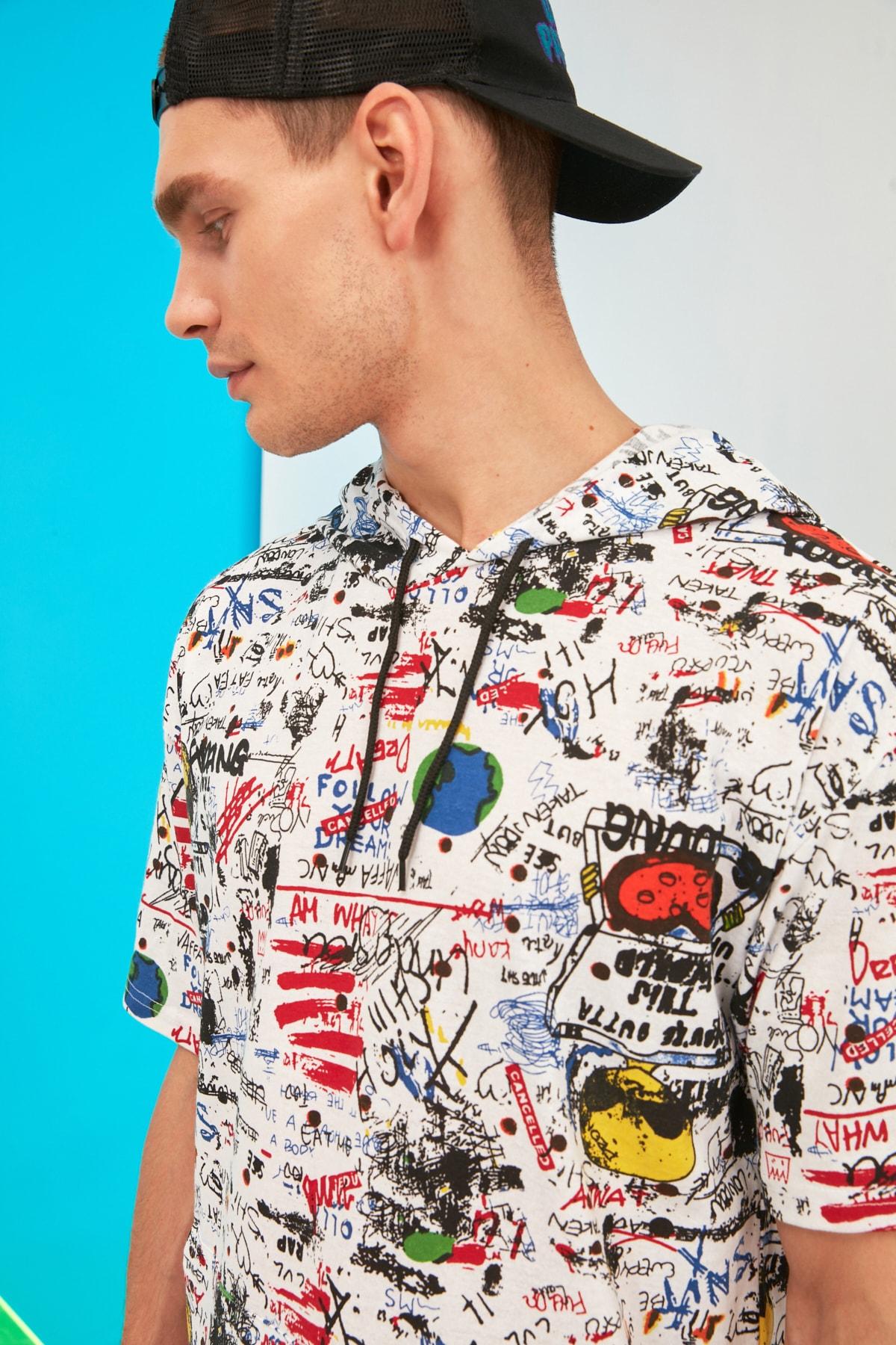 TRENDYOL MAN Beyaz Erkek Oversize Kısa Kollu T-Shirt TMNSS21TS1199 2