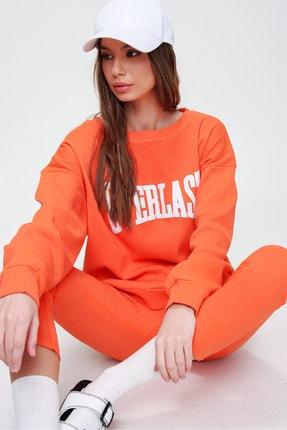Trend Alaçatı Stili Kadın Turuncu Sweatshirt Örme Tayt İkili Takım ALC-X5890
