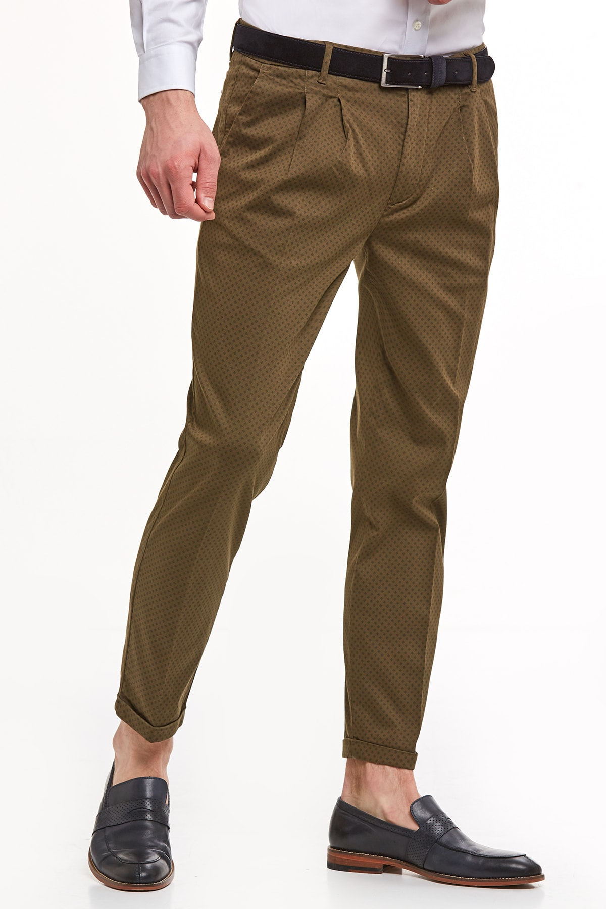Hemington Haki Desenli Pamuk Chino Pantolon 1