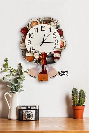 Sokaktaki Hediyem Kokteyl 3d Tasarımlı Sallanır Sarkaçlı Duvar Saati
