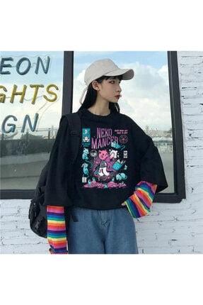 Köstebek Neko Mancer (unisex) Gökkuşağı Kollu T-shirt