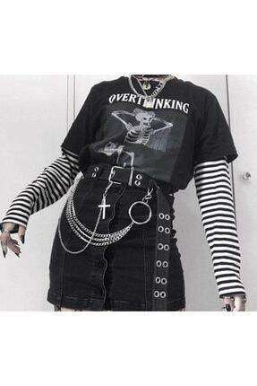 Köstebek Unisex Siyah Beyaz Çizgili Overthinking Yazılı Kollu T-Shirt