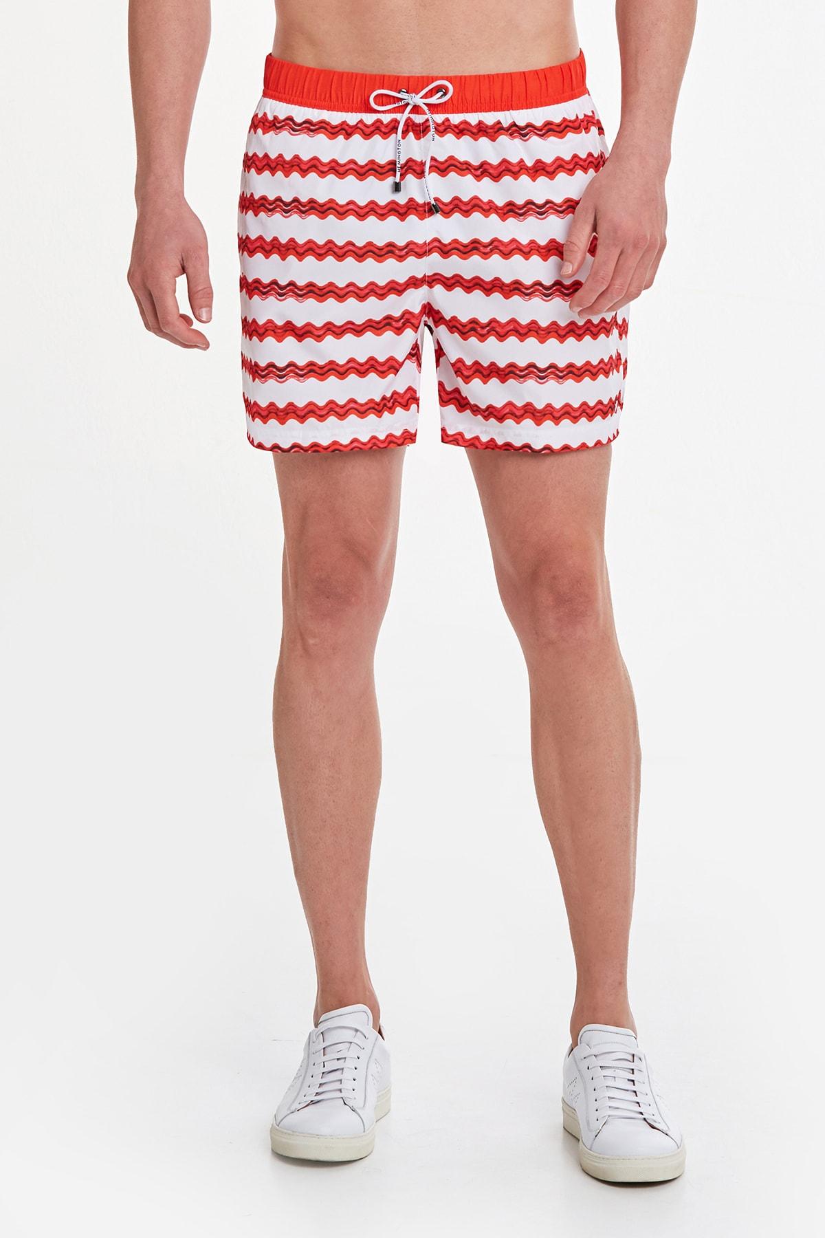 Hemington Erkek Kırmızı Desenli Quick Dry Şort Mayo 2