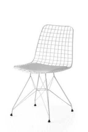 Red Line Tasarım Beyaz Tel Sandalye, Cafe, Ofis, Restorant Sandalyesi
