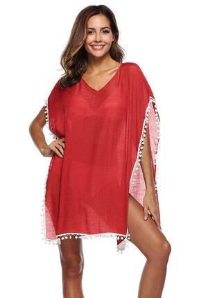 TrendBu Kırmızı Pareo Ponponlu Plaj Elbisesi