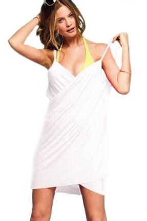 TrendBu Kadın Plaj Elbisesi Beyaz Kısa Pareo