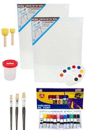 Oyun ve Sanat Yağlı Boya Resim Başlangıç Seti - 2 Tuval, 12li Yağlı Boya, Palet, 5 Fırça, Fırça Kabı,