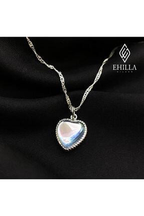 Ehilla Silver Ay Taşı Kalpli Kolye 925 Ayar Gümüş Kolye