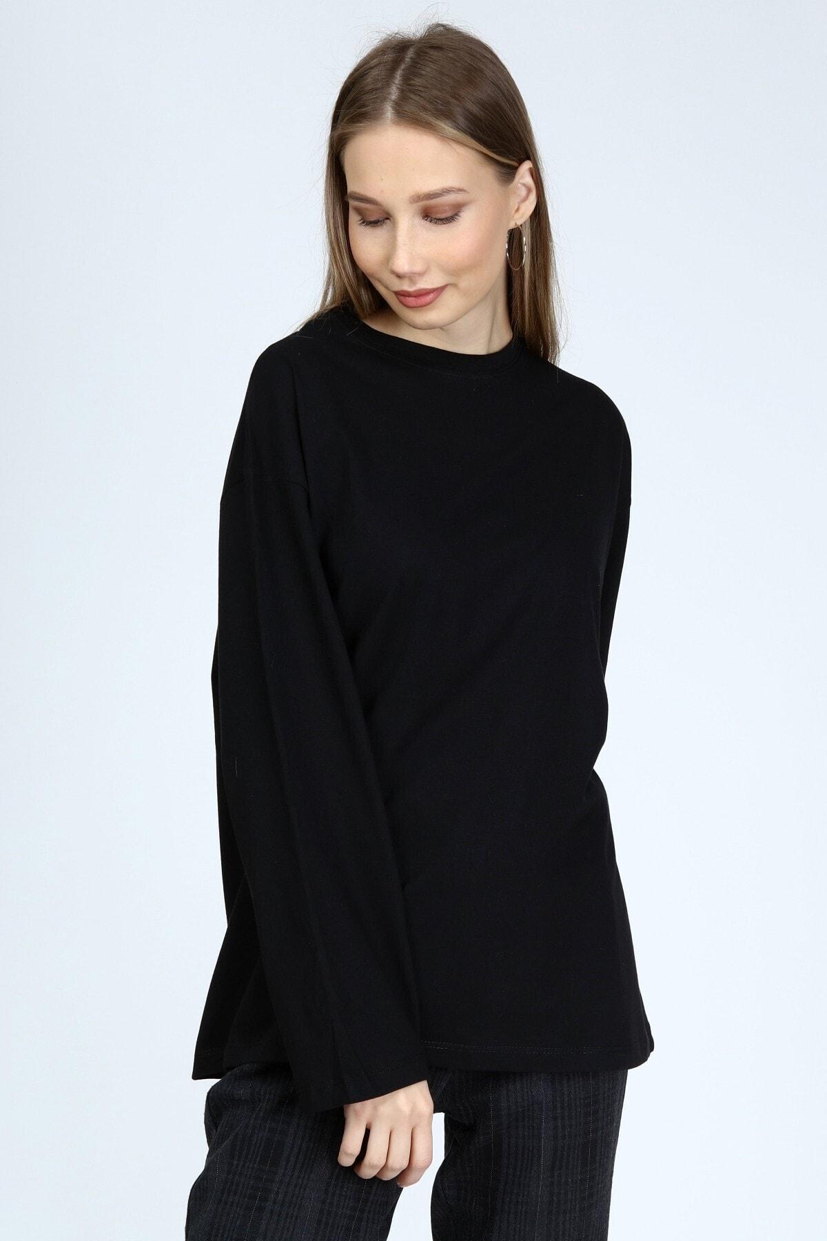 BASICA Kadın Siyah Uzun Kollu Bisiklet Yaka Basic Oversize T-shirt 1