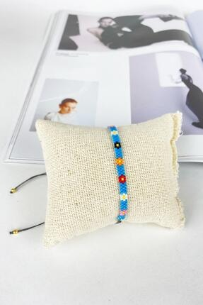 BAHELS Kadın Mavi Renk Miyuki Papatya Özel Tasarım Bileklik