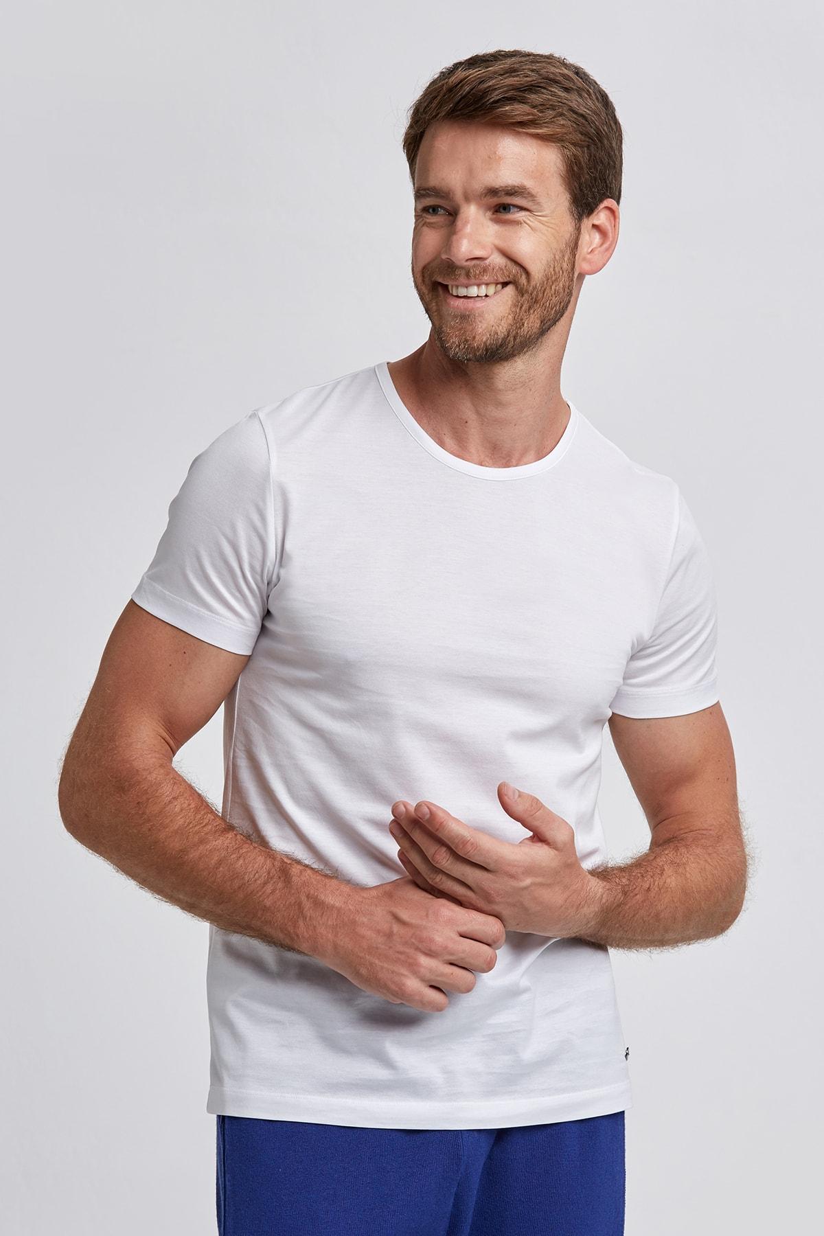 Hemington Beyaz Bisiklet Yaka Basic T-shirt 1