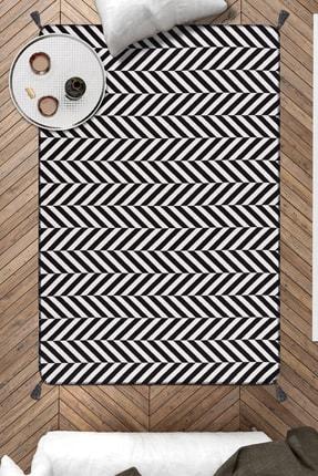 Caretta Home Siyah Beyaz Ponponlu Yaprak Dokuma Kilim