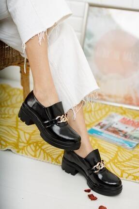 MUGGO Kadın Siyah Yüksek Taban Ayakkabı Mglisa06