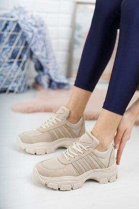 Papuçlarım Kadın Kahverengi Jennis Bağcıklı Vizon Süet Spor Ayakkabı