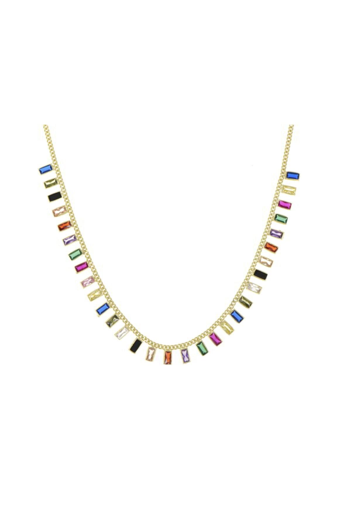 Luna Argento Jewelry Baget Model Renkli Zirkon Taşlı Gümüş Kolye 2