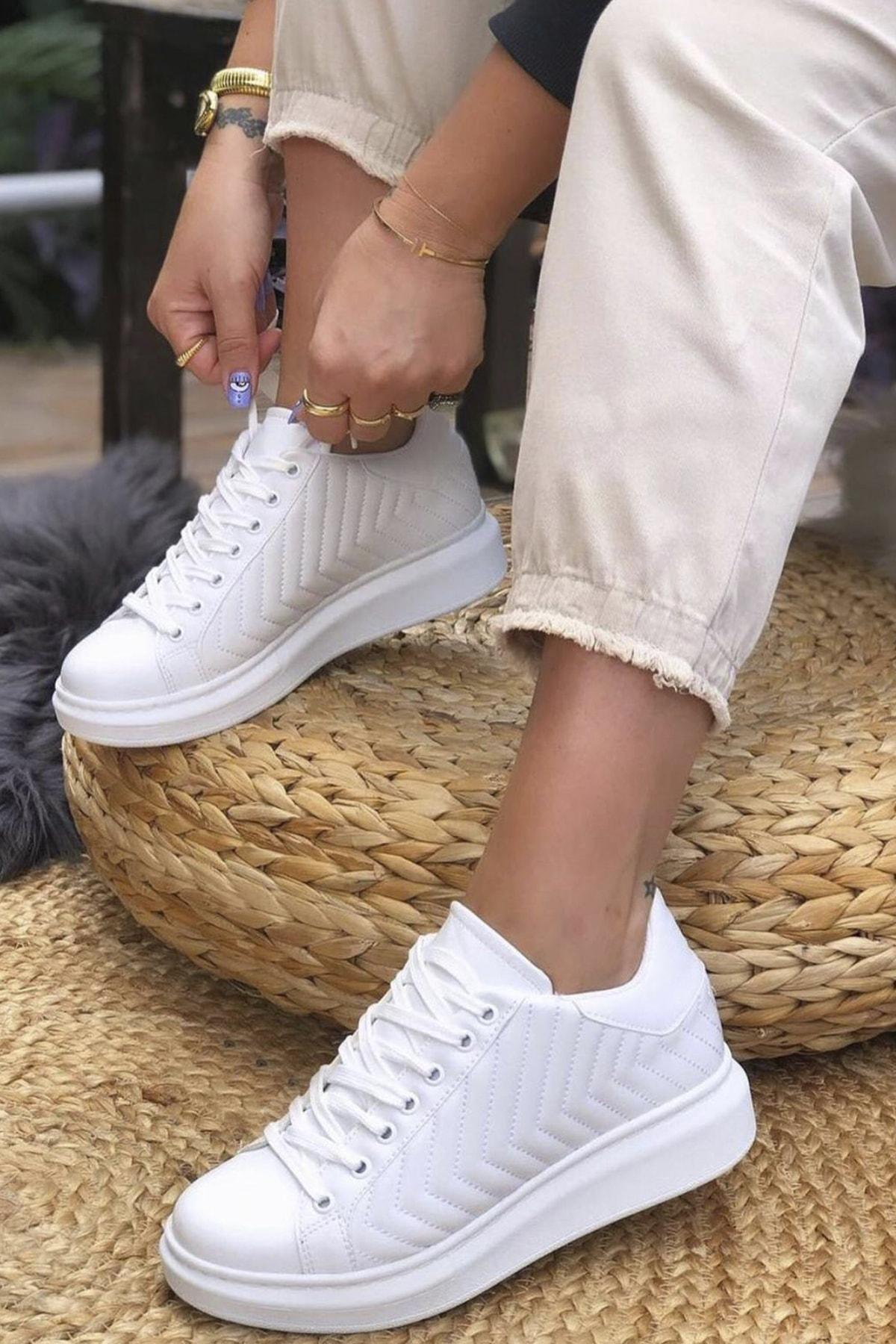 GNY AYAKKABI Kadın Beyaz Dikişli Spor Ayakkabı 1