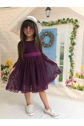 Buse&Eylül Bebe Kız Çocuk Mor Puantiyeli Şapkalı Güpürlü Prenses Elbise