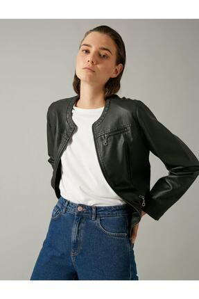 Koton Kadın Siyah Deri Görünümlü Fermuarlı Ceket