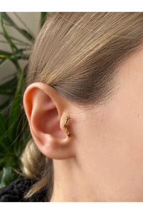 Okkostore Kadın Gold Cerrahi Çelik Üç Yıldız Tragus Kıkırdak Piercing 6mm