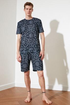 TRENDYOL MAN Siyah Baskılı Örme Pijama Takımı THMSS21PT0450