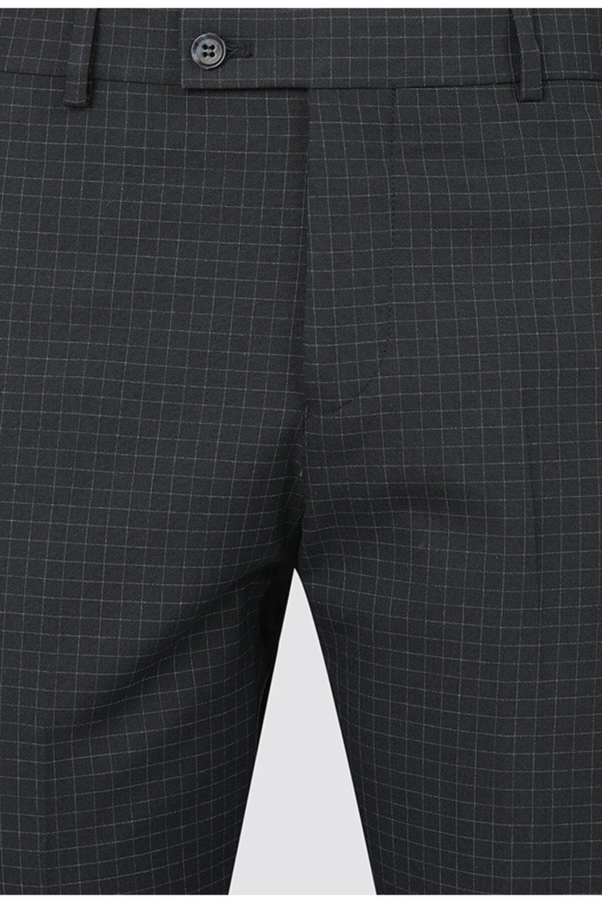 D'S Damat Twn Slim Fit Lacivert Kareli Kumaş Pantolon 2