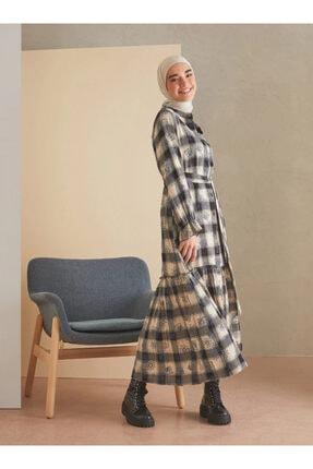 Loreen Kadın İndigo Desenli Elbise
