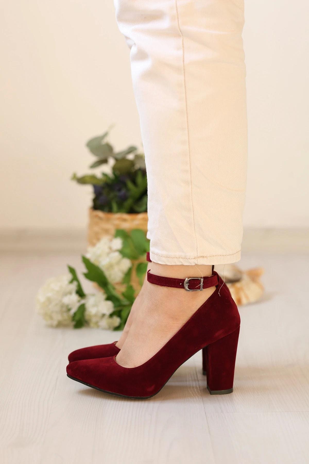 METRO AVM Kadın Bordo Kuzu Stiletto Ayakkabı 1