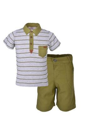 Midimod Erkek Çocuk Yakalı Tişört Şort 2li Takım 2-6 Yaş 18558