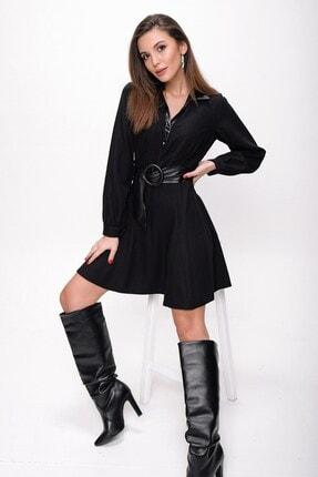 By Saygı Kadın Siyah Yaka Deri Kemerli Örme Krep Elbise