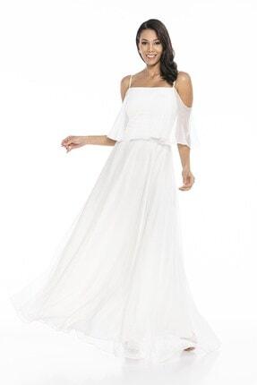 Abiye Sarayı Kadın Beyaz Askılı Yırtmaç Detaylı Şifon Elbise