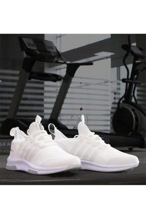 RodeoClass Erkek  Beyaz Çizgili Ultra Hafif Triko Spor Ayakkabı