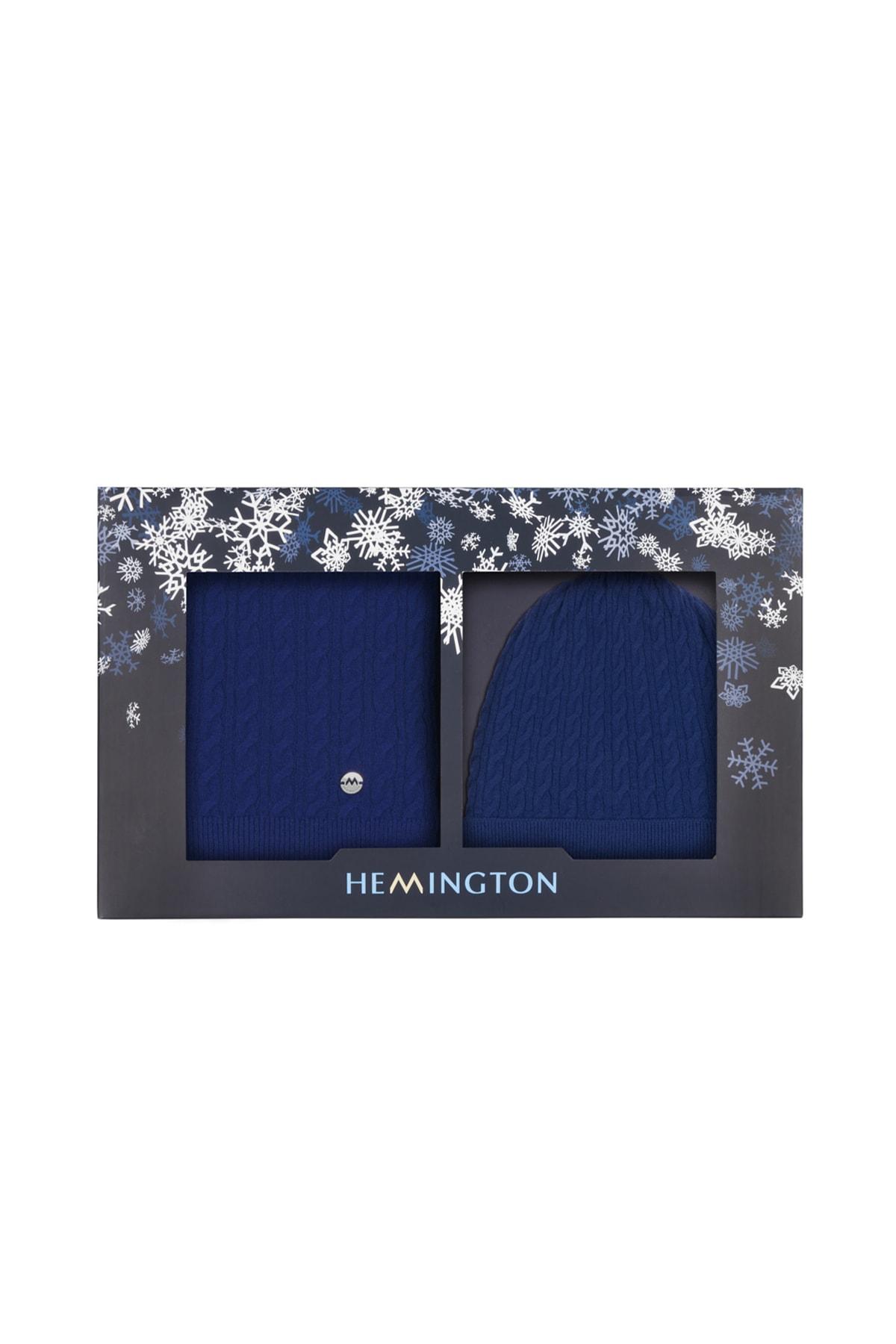 Hemington Erkek Mavi Lambswool Yün  Atkı 2