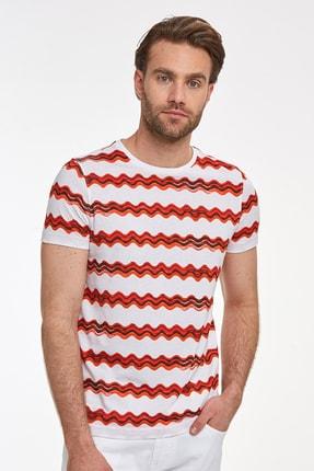 Hemington Erkek Kırmızı Desenli Bisiklet Yaka T-shirt