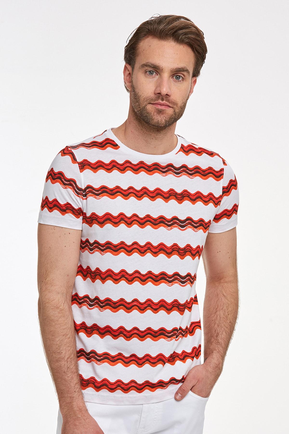 Hemington Erkek Kırmızı Desenli Bisiklet Yaka T-shirt 1