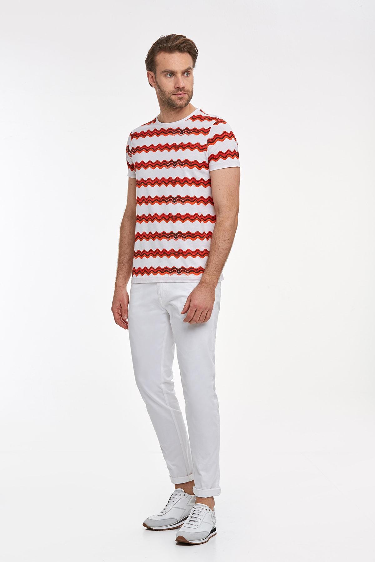 Hemington Erkek Kırmızı Desenli Bisiklet Yaka T-shirt 2