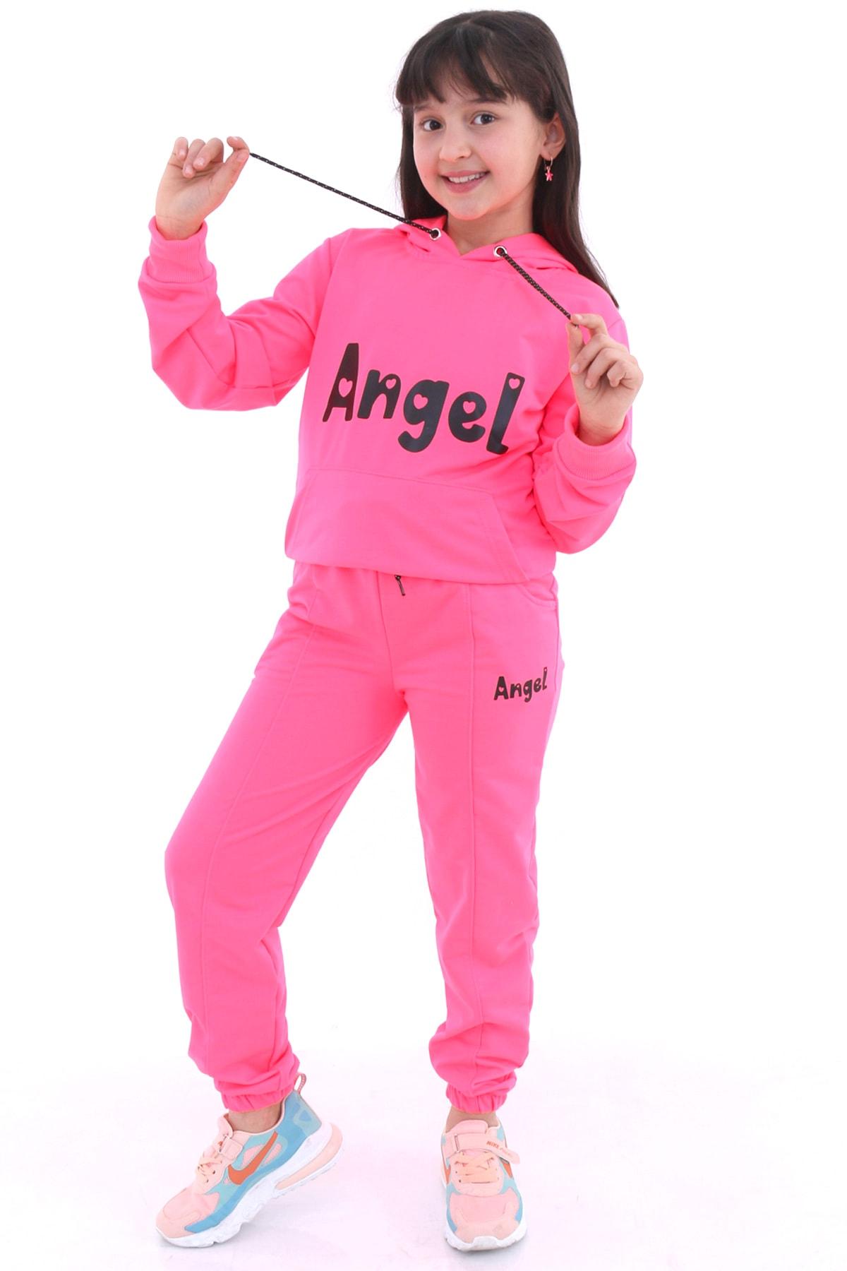 Cansın Mini Kız Çocuk Neon Pembe Angel Nakışlı Takım 4143-3 1