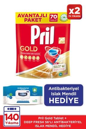 Pril Gold 70 Tabletx2 / Antibakteriyel Islak Mendil Hediye