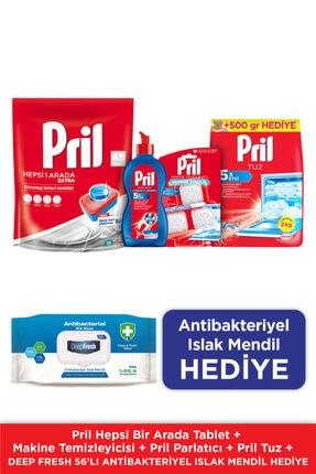 Pril H1a Tablet 45 Doypack +mak.tem+parlatıcı+ Tuz Mix / Antibakteriyel Islak Mendil Hediye